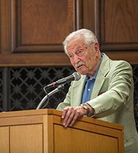 Sam Barron speaking at Alumni Awards 2015