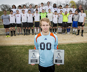 Isaiah Tyree '15 with the 2014 men's soccer team