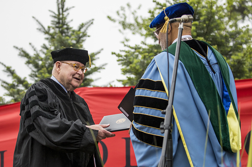 Honorary degree receives award