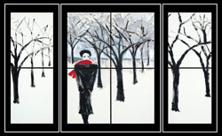 Black and white triptich of figure walking through a wooded snow scape with red scarf