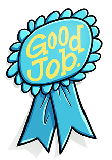 "Illustration of a blue ribbon that says ""Good Job!"""