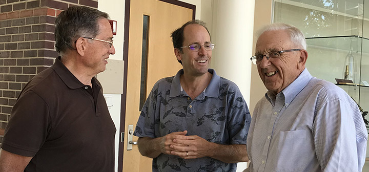 A former faculty member, an alumnus, and a professor emeritus walk into an ice cream social.