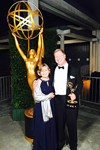 Ian Roberts with his wife, Katie, outside the Governors Ball after  the Emmy awards ceremony.