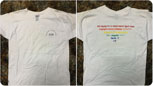 tee with rainbow text spelling out words for pride in a variety of languages