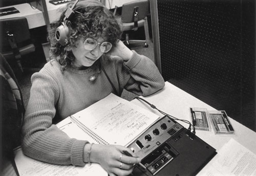 Student listening to tapes