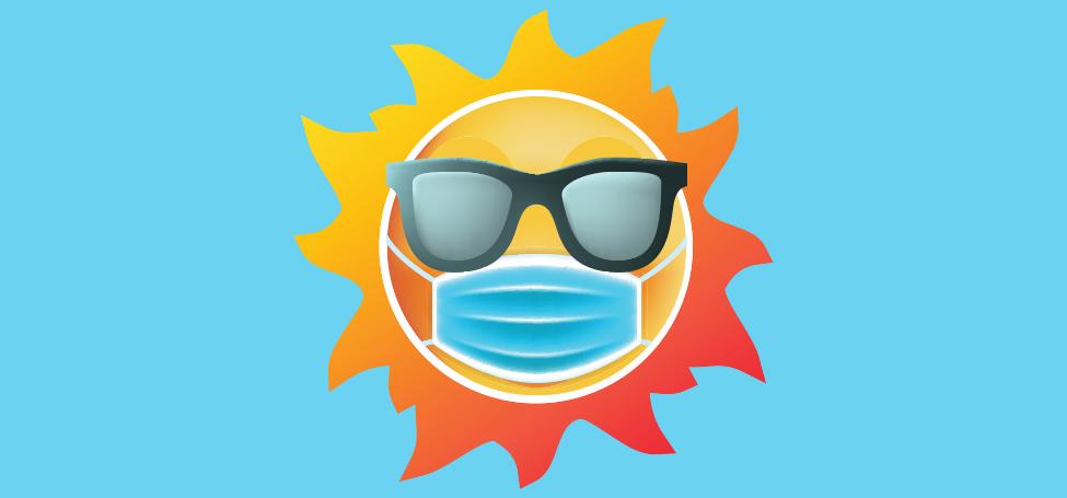Cartoon Sun wearing a mask