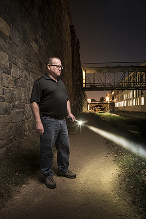 Todd Troutner '89 with flash light