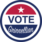 Red and blue Vote Grinnellian logo