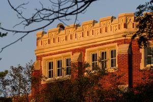 Crenellations atop ARH in morning light