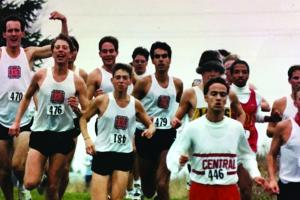 Barry Matchett '94 running with the cross country team in 1994
