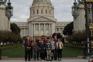 Group of students out from of building in San Fransisco