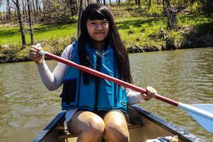 Rebecca Wong '17 canoeing