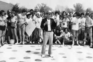 1983 Professor Wayne Moyer gives speech at Grinnell Relays
