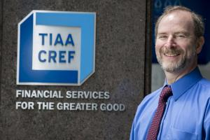 Michael Kahn '76 outside of the TIAA CREF building