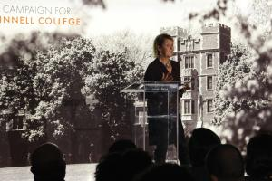 Sheryl Walter '78 presenting at the campaign event in Washington, D.C.