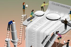 illustration of people peering closely at a hugely oversized list of college rankings
