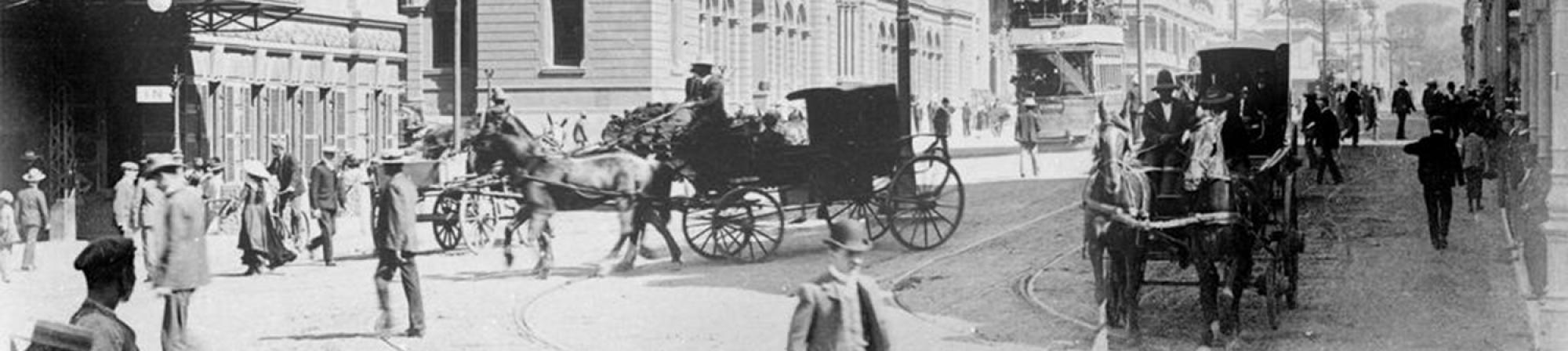 Black and white photograph of New Adderley Street, Cape Town (c.1914)