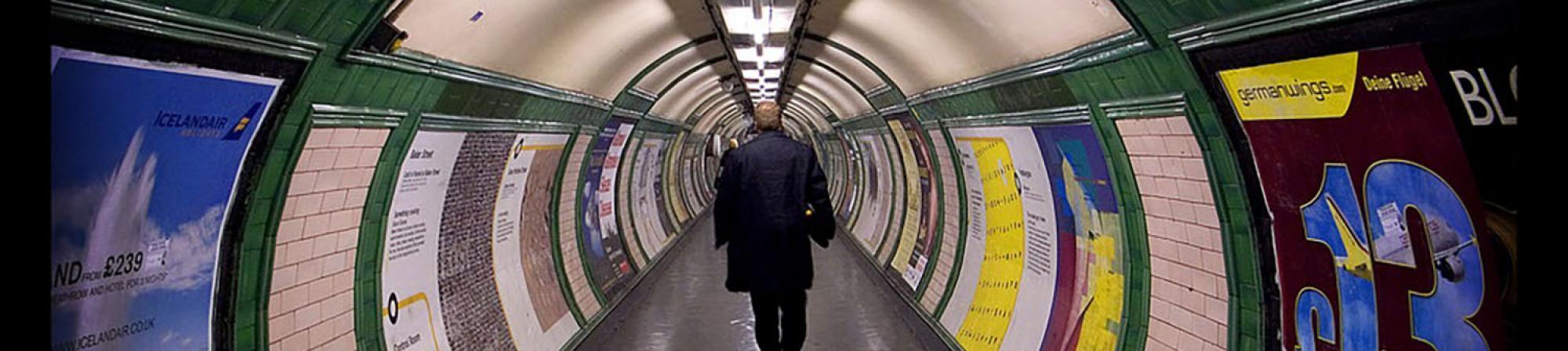 Man walking in London subway (Tube)