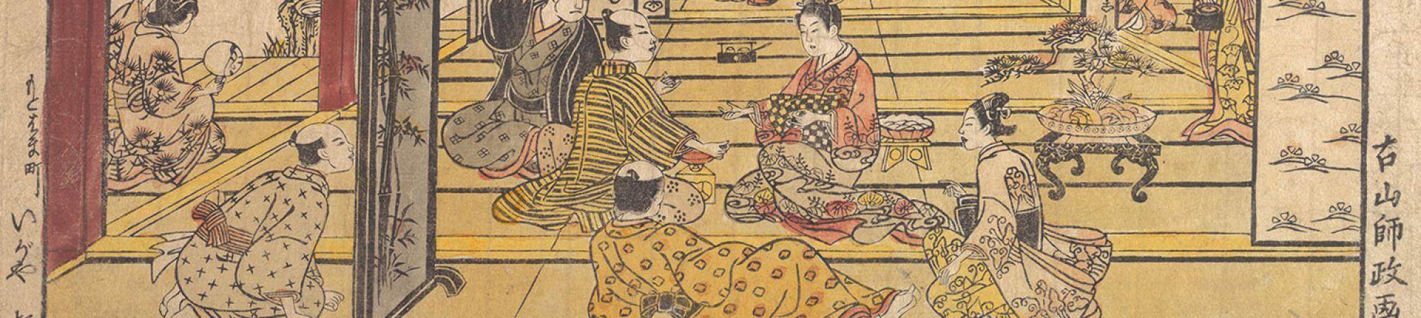 "Detail of ""A Game of Hand Sumo in the New Yoshiwara"" by Furuyama Moromasa"
