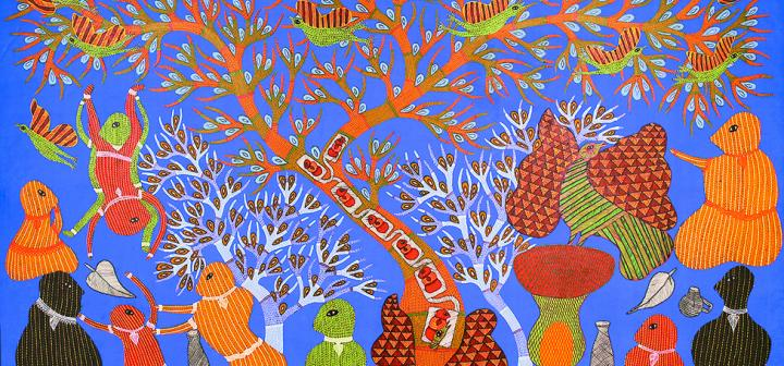 Ram Singh Urveti, Woodpecker and the Ironsmith, 2011. Acrylic on canvas. Photo courtesy of Sneha Ganguly.