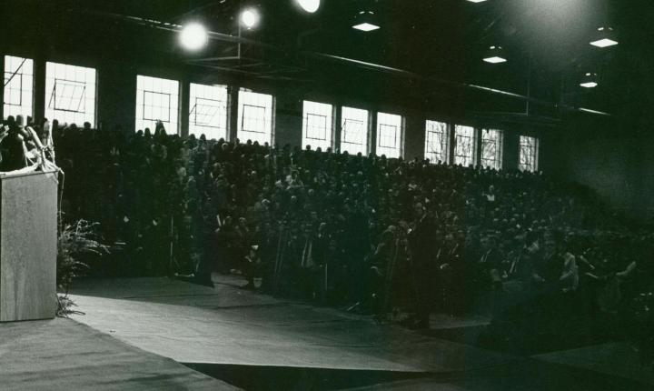 Rev. Martin Luther King Jr addresses a packed crowd in Darby Gym