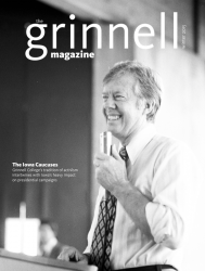 Cover of Winter 2015 Grinnell Magazine: Jimmy Carter visit to Grinnell in 1976