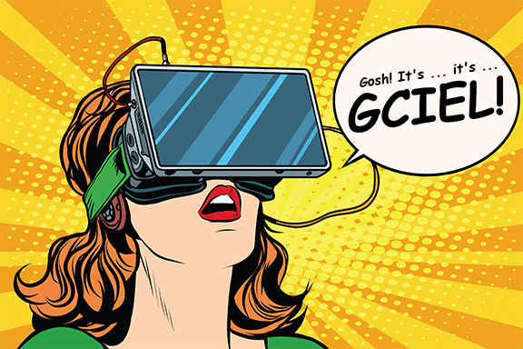 Decorative Image of pop art person with virtual reality headset saying Gosh! It's ... It's ...GCIEL!