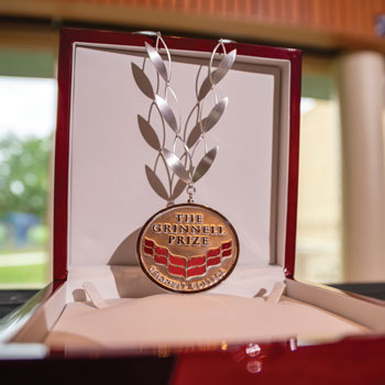 The Grinnell Prize medal and laurel wreath chain