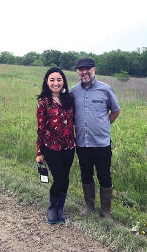 Paul Migliorato (right) and Hana on rural road