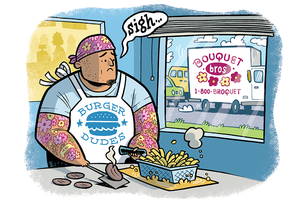 Cartoon of a big dude with flower tattoos working at a burger joint and gazing longingly out his window at a florist truck