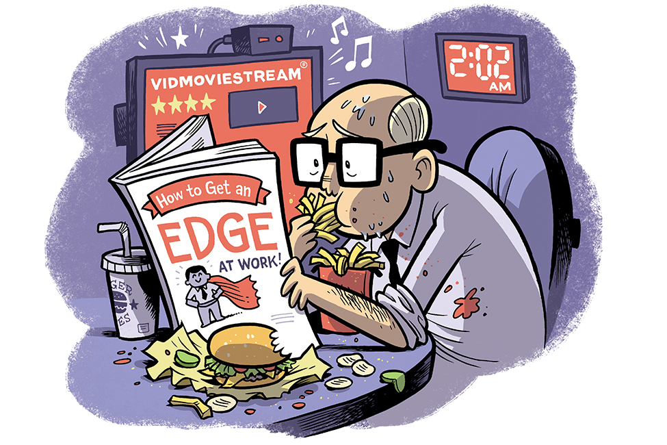 """Cartoon of a stressed out guy staying late at work, eating junk food, and reading """"How to Get an Edge at work"""""""