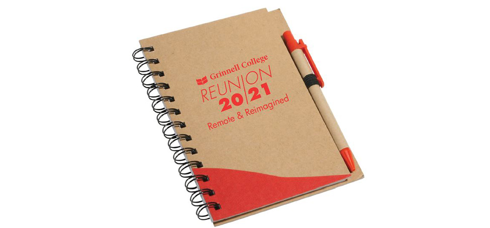 Scarlet and tan notebook reads Grinnell College Renion 2021 remote and reimagined