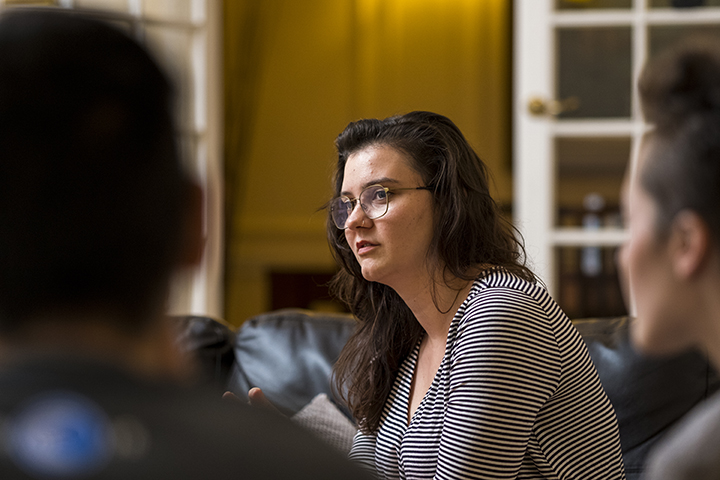 Nolan Boggess, Sarah Cannon (pictured), Sophia DeLeonibus, and Steven Duong, all class of 2019, shared a three-bedroom, two-bath flat in London's West End. They joked about learning that both Boggess and Cannon sing loudly in the shower and that Duong lea