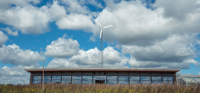 Educational building and wind turbine at Conard Environmental Research Center