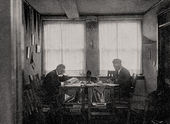 Students studying in a dormitory in 1919