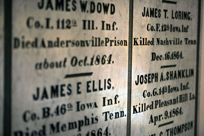Cutting from list of veterans of the U.S. Civil War with name and rank as well as date and location of death