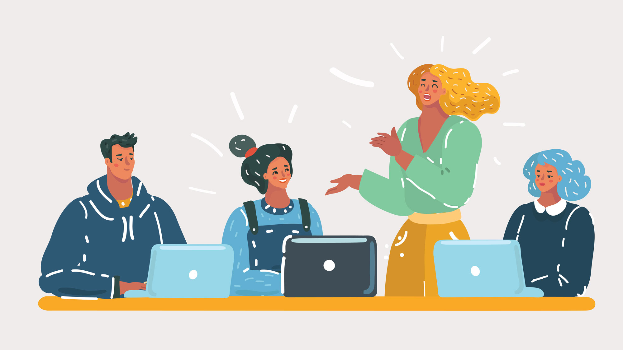 Illustration of people in meeting