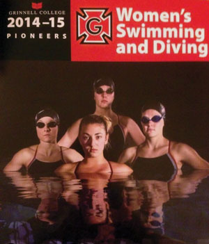 cover of Grinnell College 2014015 Women's Swimming and Diving with four swimmers in pool