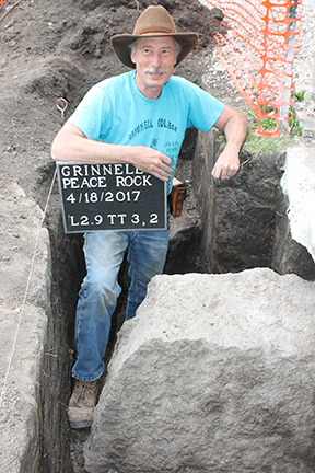 John Whittaker poses with the peace rock
