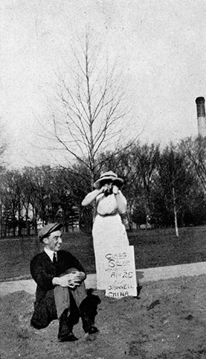 Archive image of students with peace rock