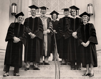 Participants in caps and gowns
