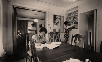 Black students studying in a house