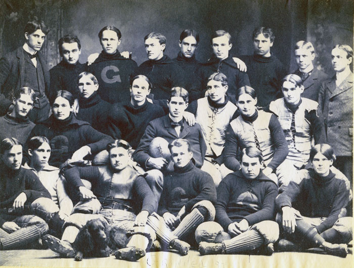 1890s Grinnel Football team with dog
