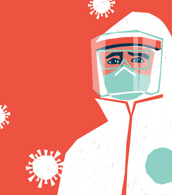Cartoon person in personal protective equipment with red backgorund