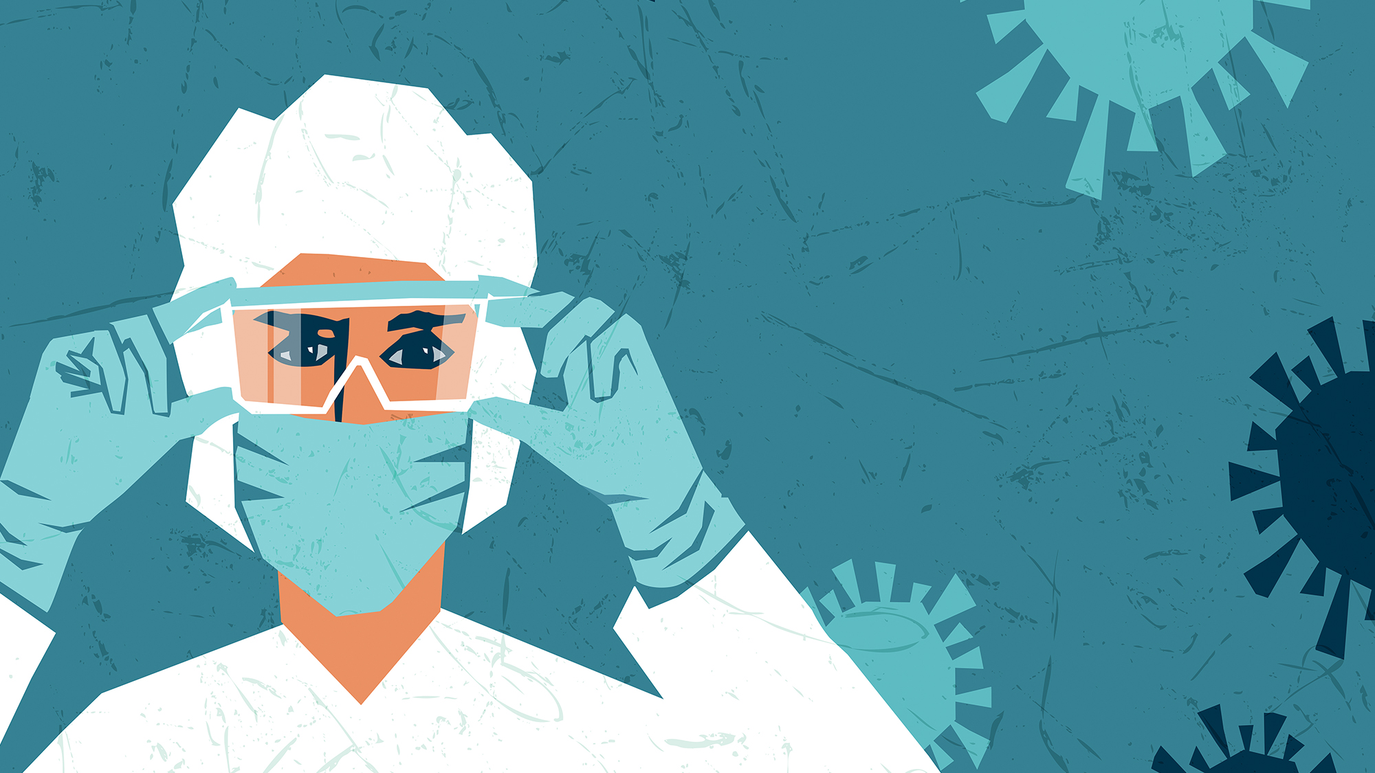 Illustration of person in personal protective equipment