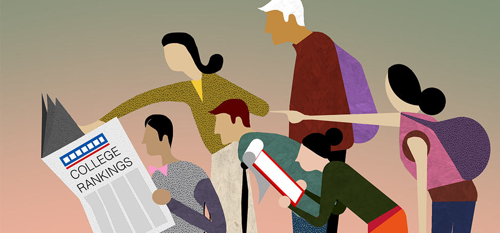 illustration of several people reading over the shoulder of another reading a newspaper called College Rankings