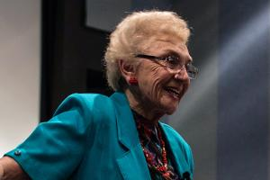 Celina Karp Biniaz '52 speaking to a crowd