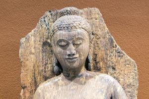Detail of stone Buddha's head