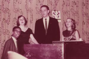 Herbie Hancock '60, Janice Pearson '58, David Van Nostrand '58, and (we think) Anne Moore '59.
