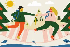 Illustration 2 people in forest